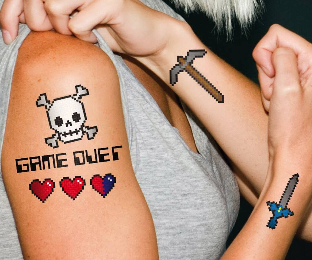 8-Bit Temporary Tattoos - http://coolthings.us