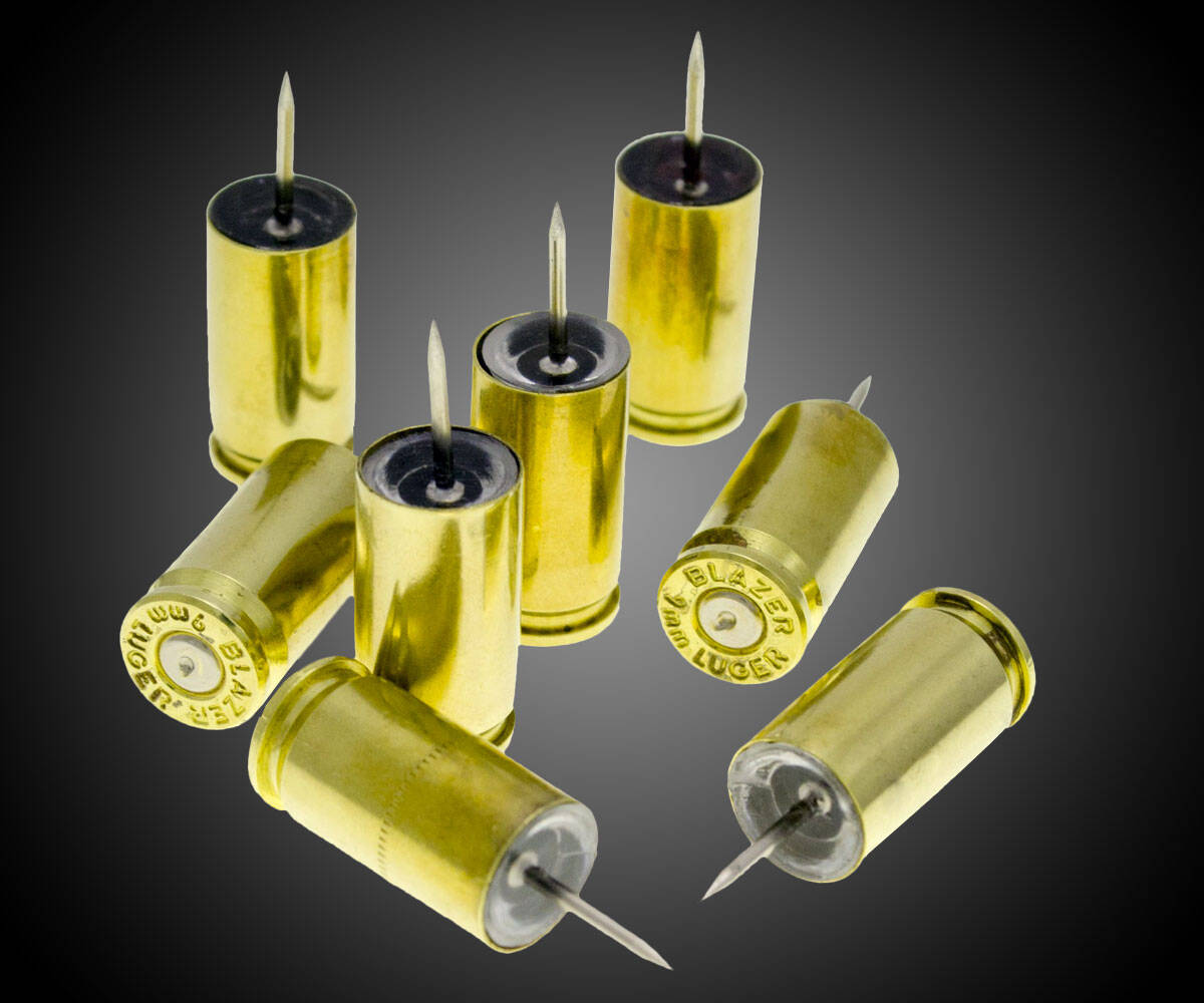 9mm Bullet Casing Push Pins - http://coolthings.us