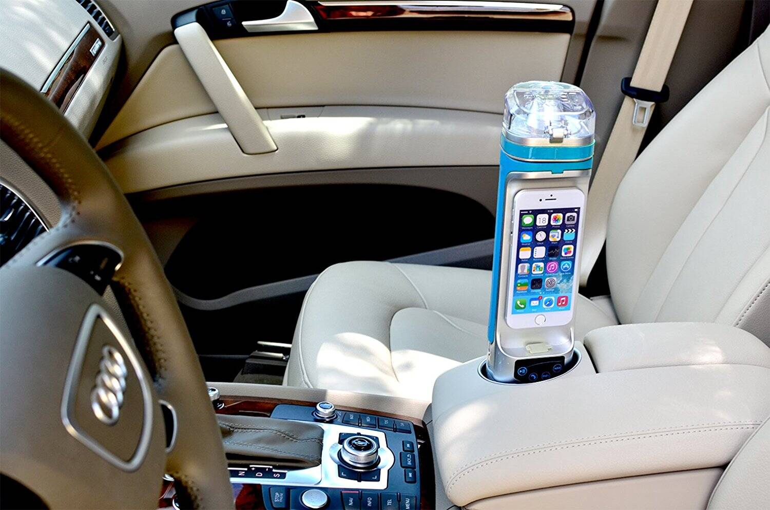 All-in-One Phone Bottle - Bluetooth Speaker, Power Bank, Phone Dock - http://coolthings.us