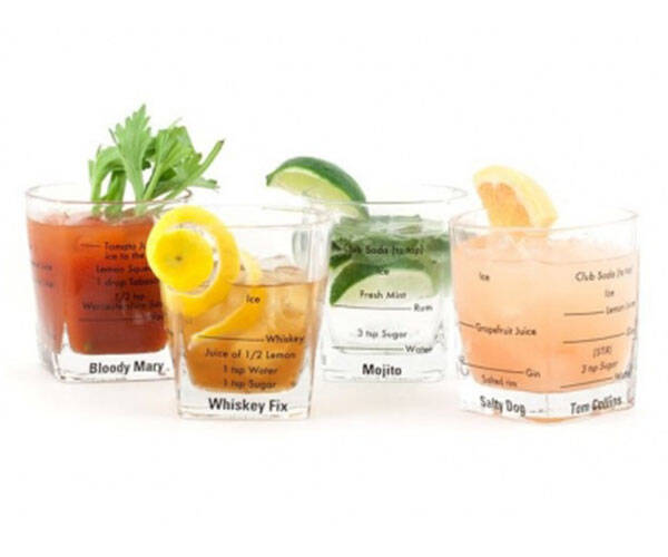 Bartending Glasses with Recipes Written on Glass - http://coolthings.us