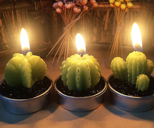 Cactus Tea Light Candles - http://coolthings.us
