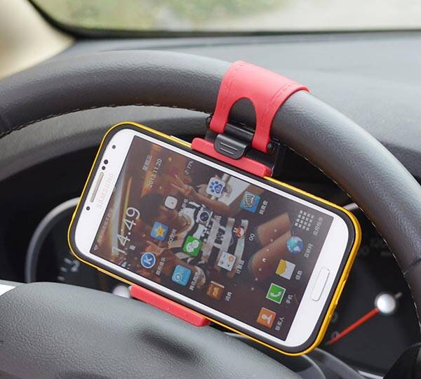 Car Steering Wheel Smartphone Holder - http://coolthings.us