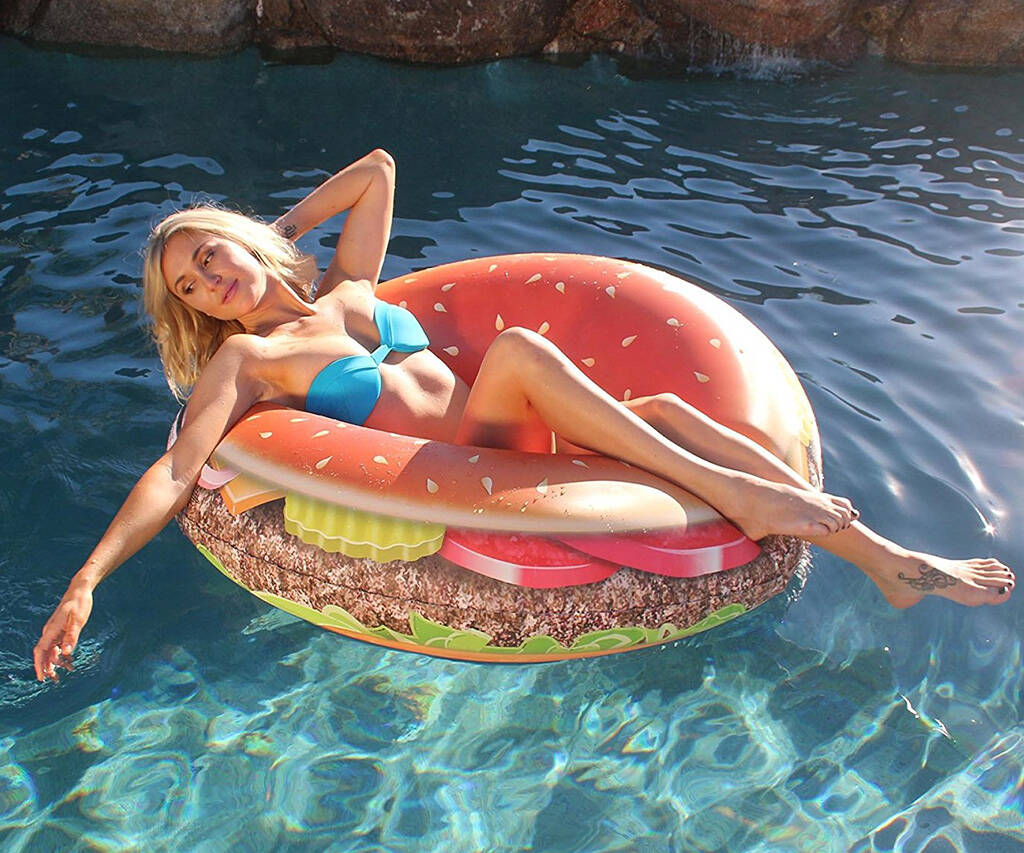 Giant Cheese Burger Party Pool Tube - http://coolthings.us