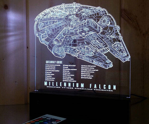 Millennium Falcon Laser Engraved LED Light - http://coolthings.us