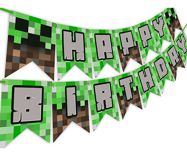 Pixelated Minecraft Birthday Banner - http://coolthings.us