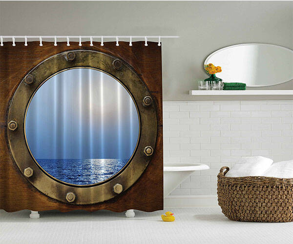 Ship Porthole Shower Curtain - http://coolthings.us