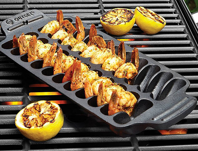 Shrimp Cast Iron Grill and Serving Pan - http://coolthings.us