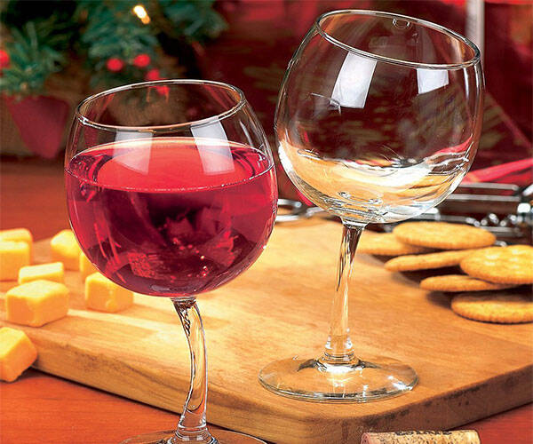 Tipsy Wine Glasses with Bent Stems - http://coolthings.us