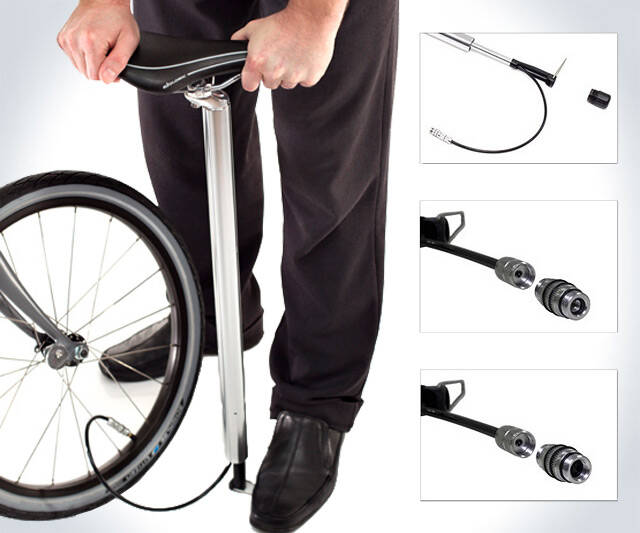 Bike Pump Seat Post - http://coolthings.us