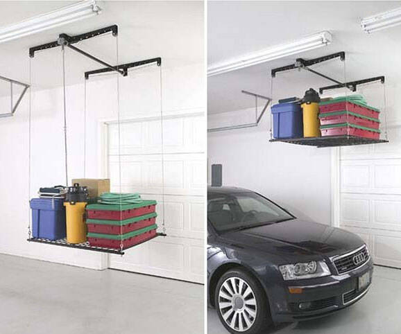 4' x 4' Cable-Lifted Storage Rack - http://coolthings.us