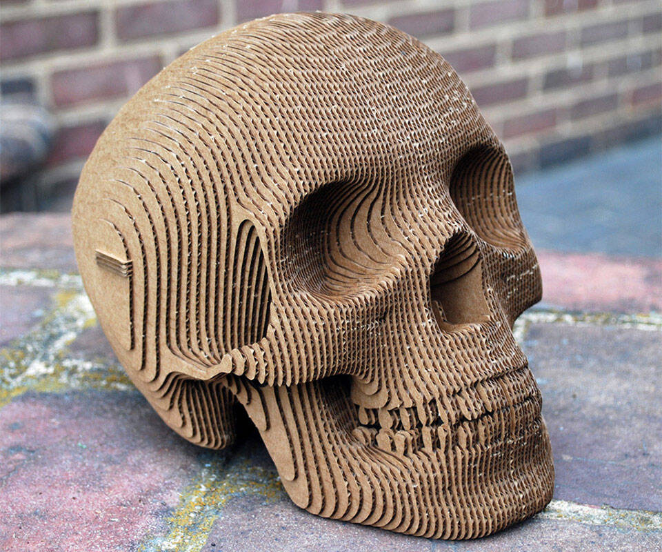 Cardboard Paper Skull - http://coolthings.us