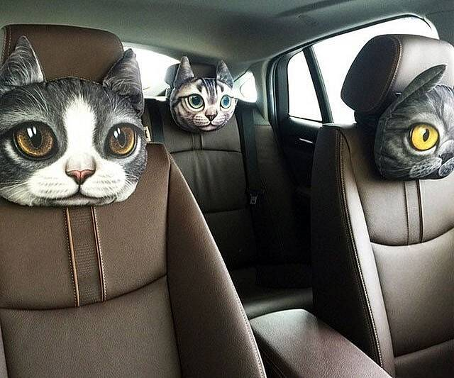 Cat Car Headrest Pillow - http://coolthings.us