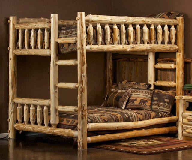 Wooden Log Bunk Beds - coolthings.us