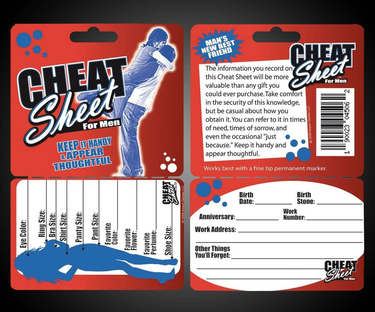 Cheat Sheet for Men - http://coolthings.us