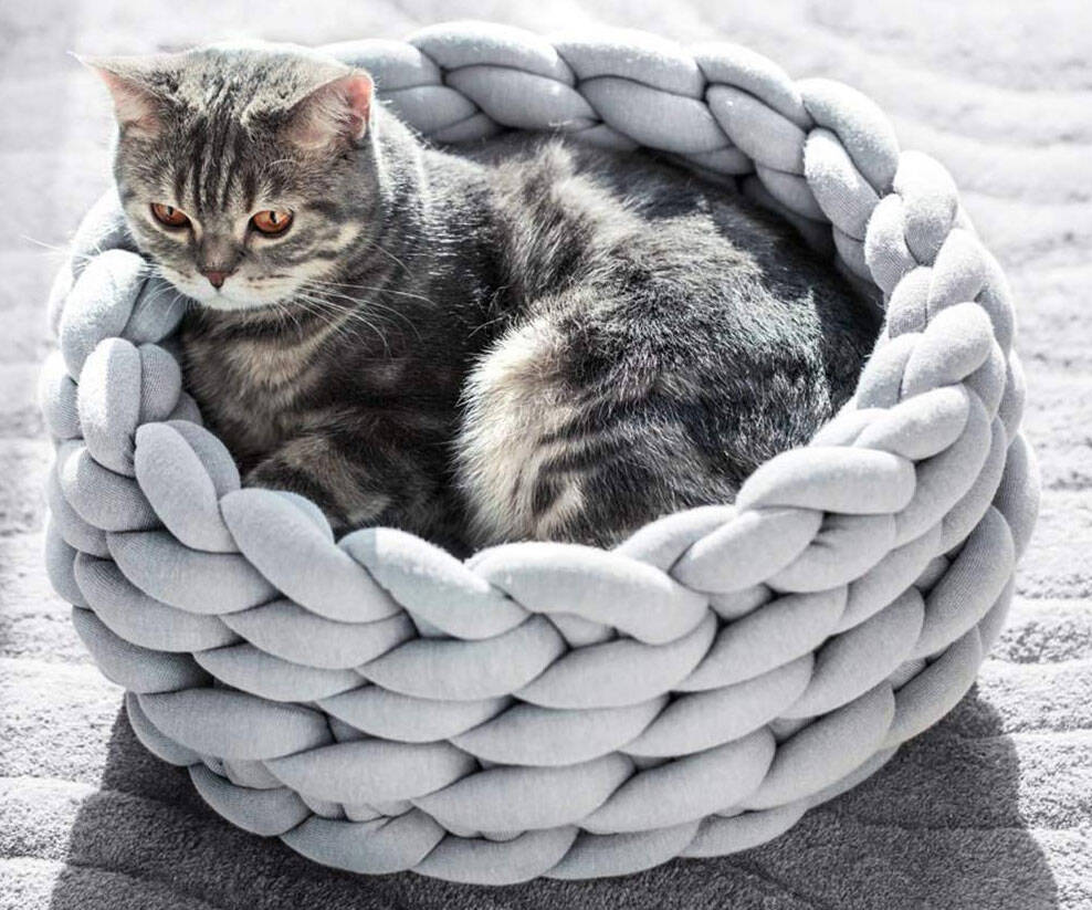 Chunky Knitted Pet Bed - http://coolthings.us