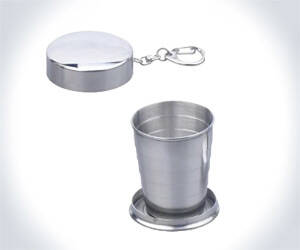 Collapsible Shot Glass Key Ring - http://coolthings.us
