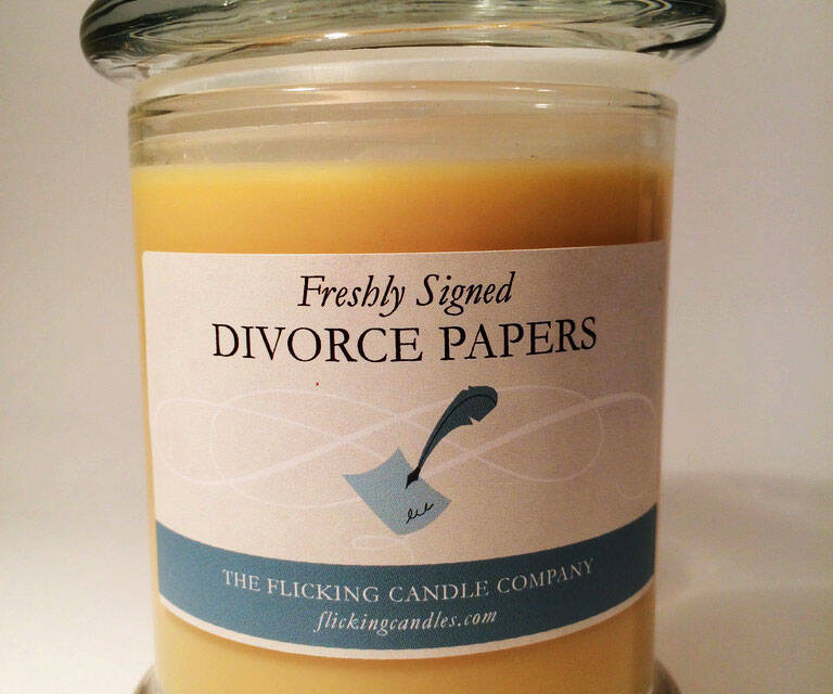 Freshly Signed Divorce Papers Candle - http://coolthings.us