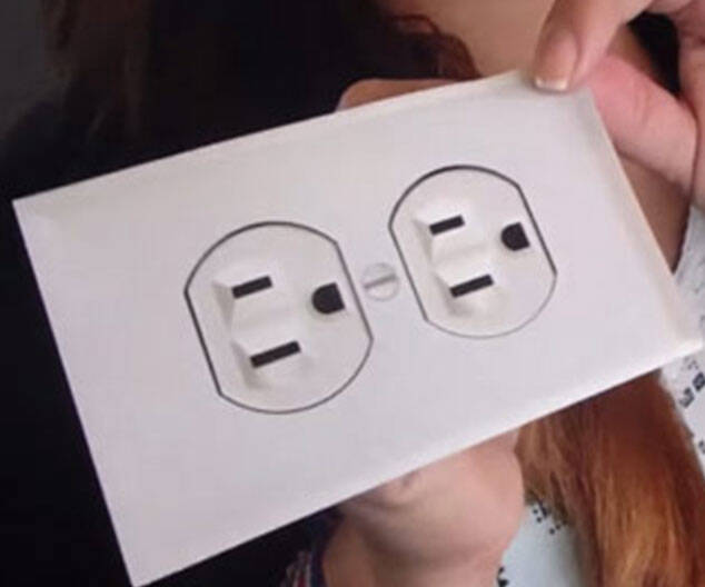 Fake Electric Outlet Sticker - http://coolthings.us