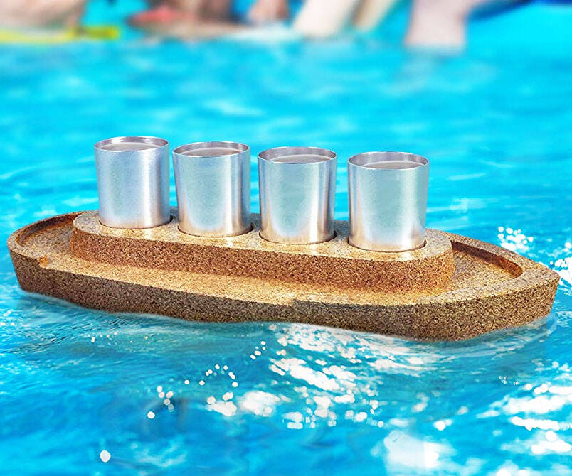 Cork Boat Shot Glass Serving Tray - http://coolthings.us