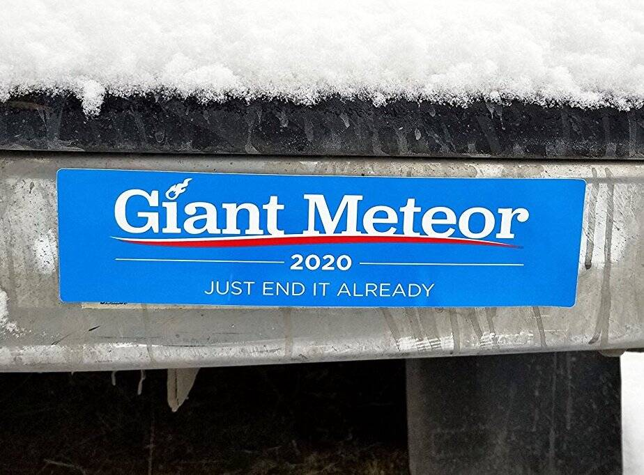 Giant Meteor 2020 Bumper Sticker - http://coolthings.us