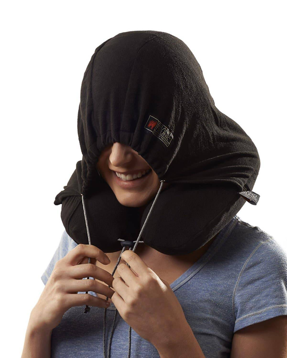 Hooded Travel Neck Pillow - http://coolthings.us