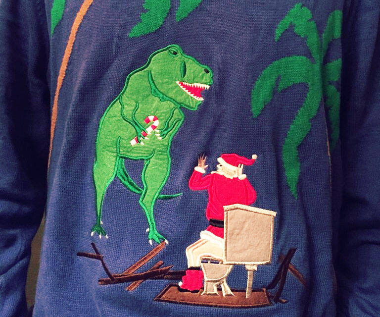 Toilet T-Rex Attack Ugly Christmas Sweater