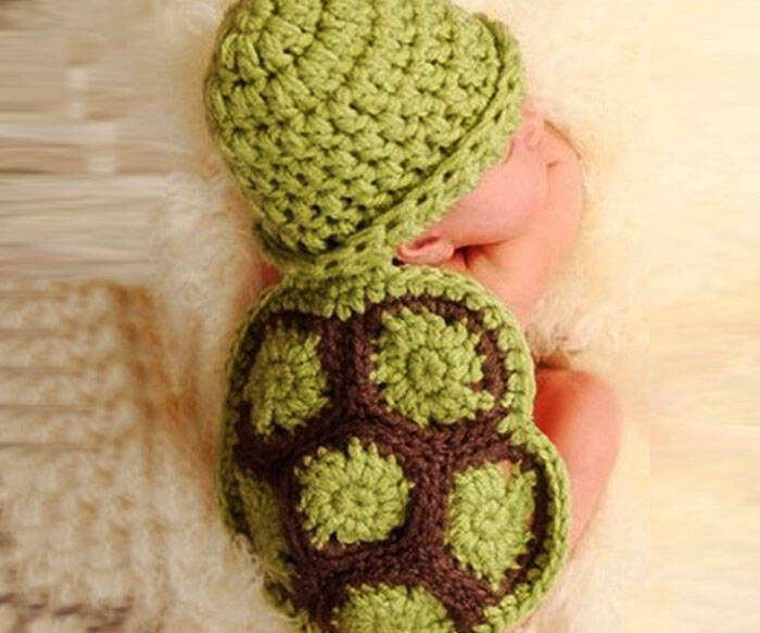 Knitted Crochet Turtle Beanie and Shell - coolthings.us