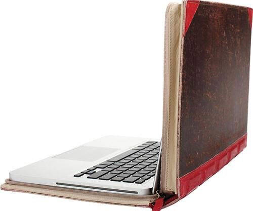 Old Leather Book Laptop Case