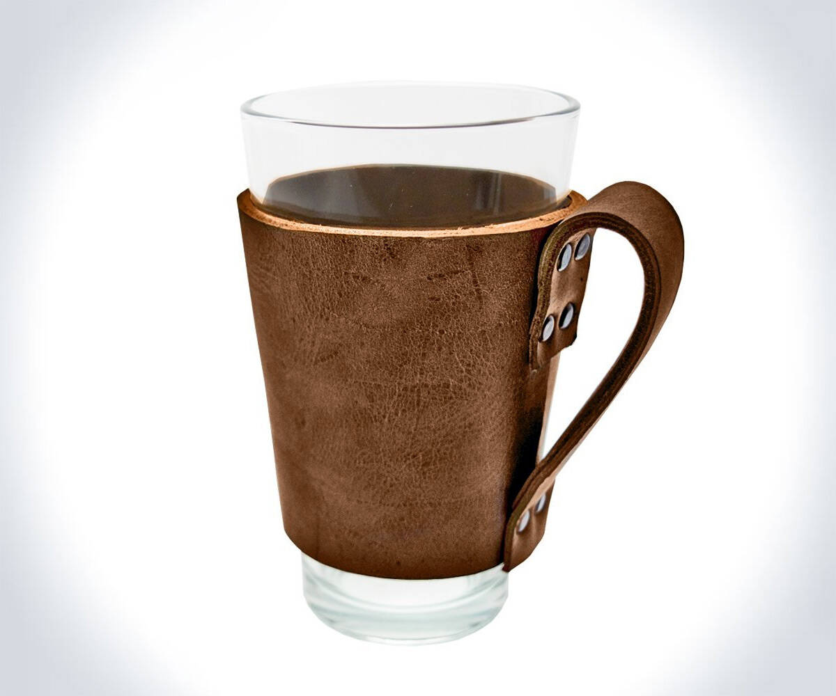 Leather Pint Glass Sleeve with Handle - http://coolthings.us