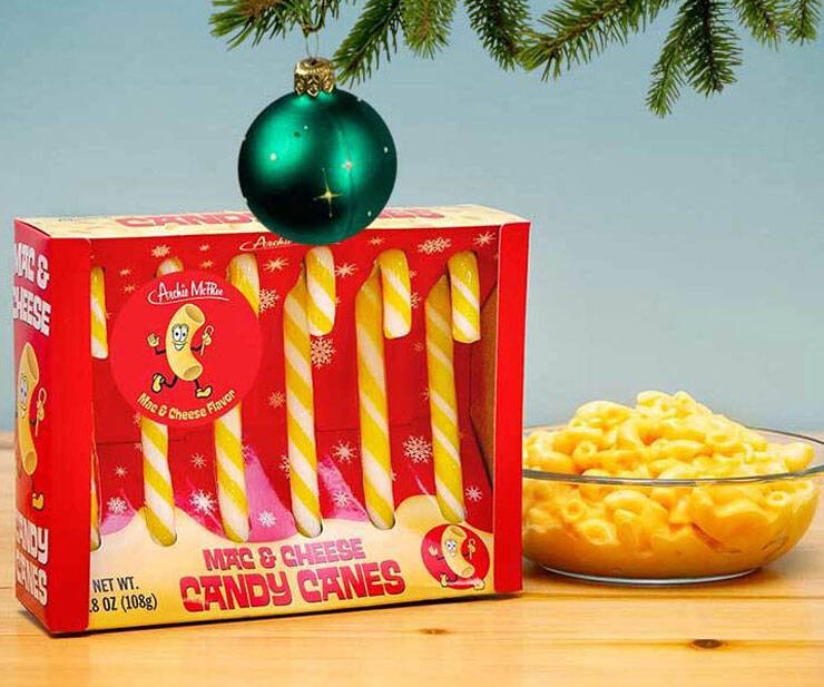 Mac & Cheese Flavored Candy Canes - http://coolthings.us