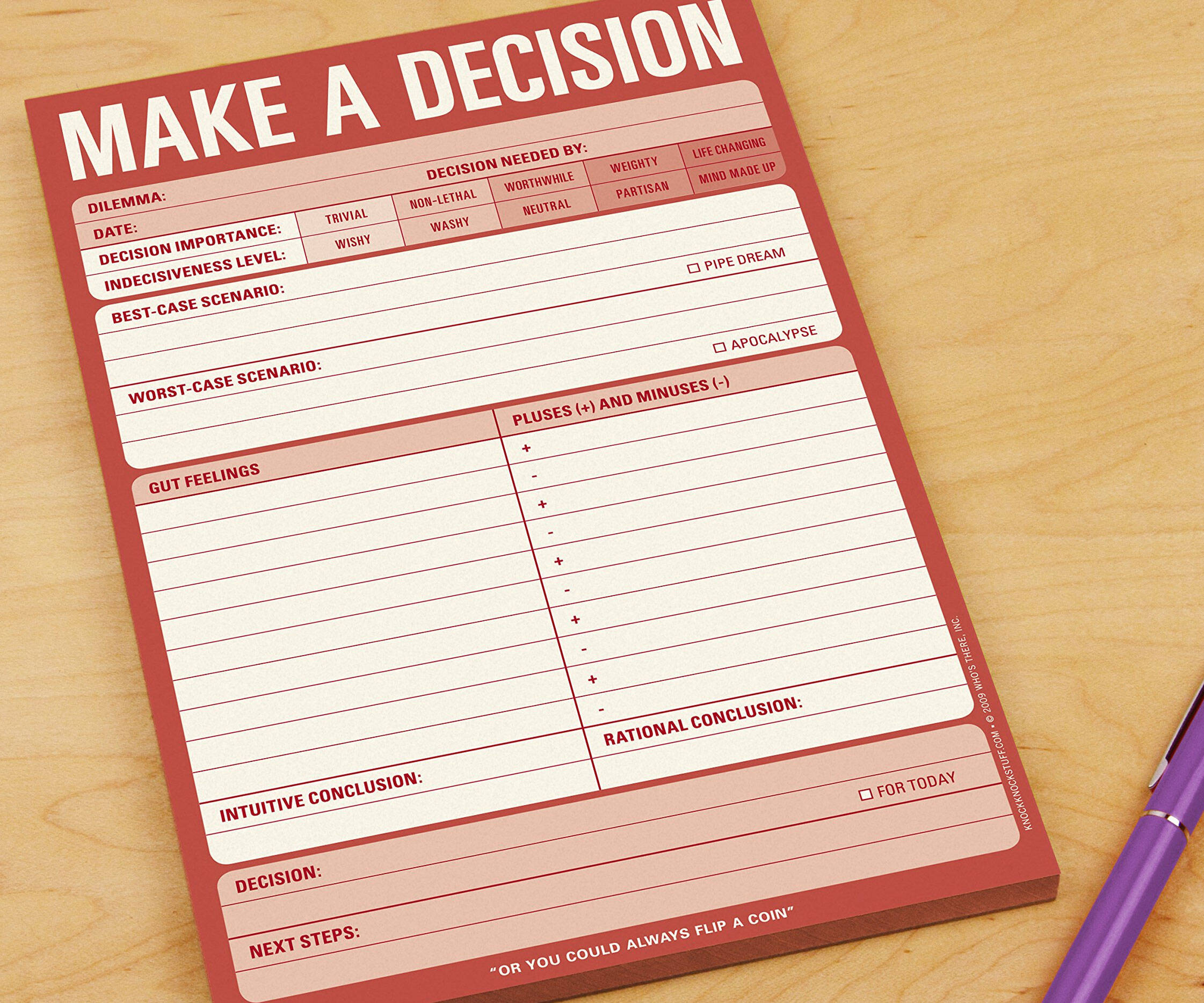 Make a Decision Pad - http://coolthings.us
