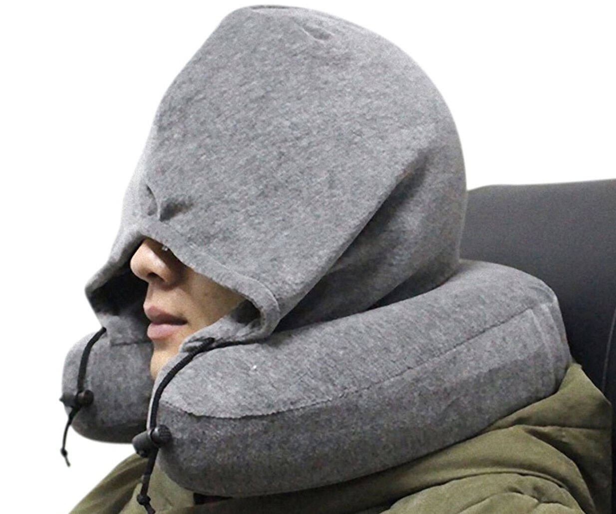 Memory Foam Neck Pillow With Hoodie - http://coolthings.us