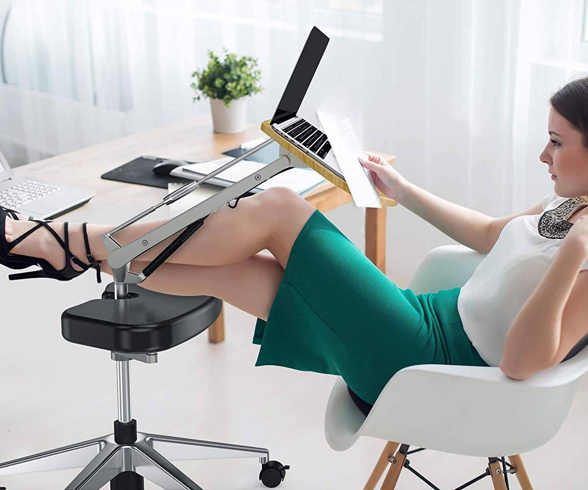 Mobile Laptop Desk with Adjustable Tabletop & Footrest - http://coolthings.us