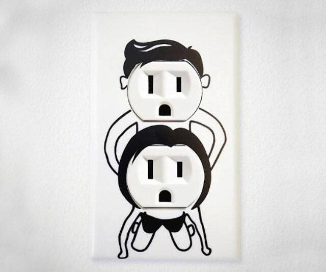 Naughty Outlet Cover Decal - http://coolthings.us