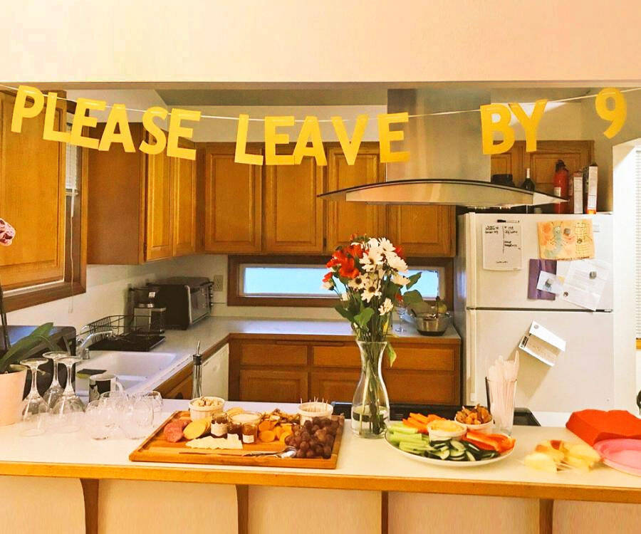 Please Leave By 9 Party Banner - http://coolthings.us