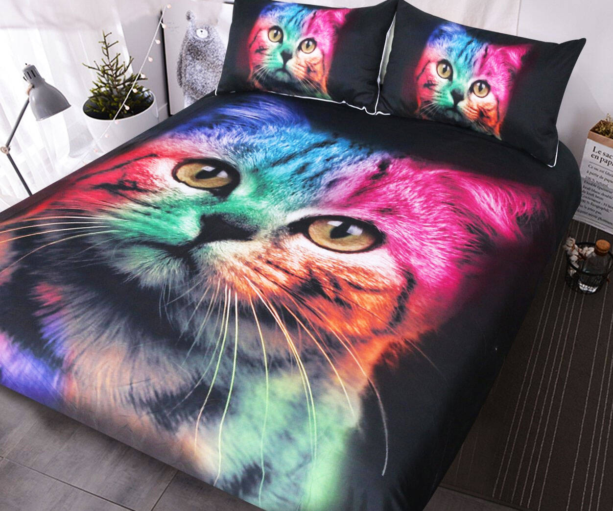 Rainbow Cat Bedding - http://coolthings.us