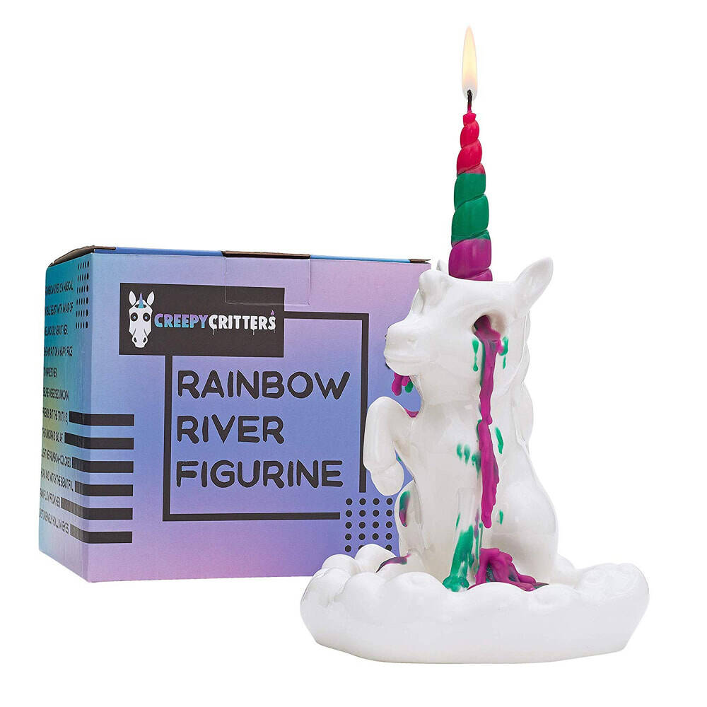 Rainbow River Crying Unicorn Candle Holder - http://coolthings.us