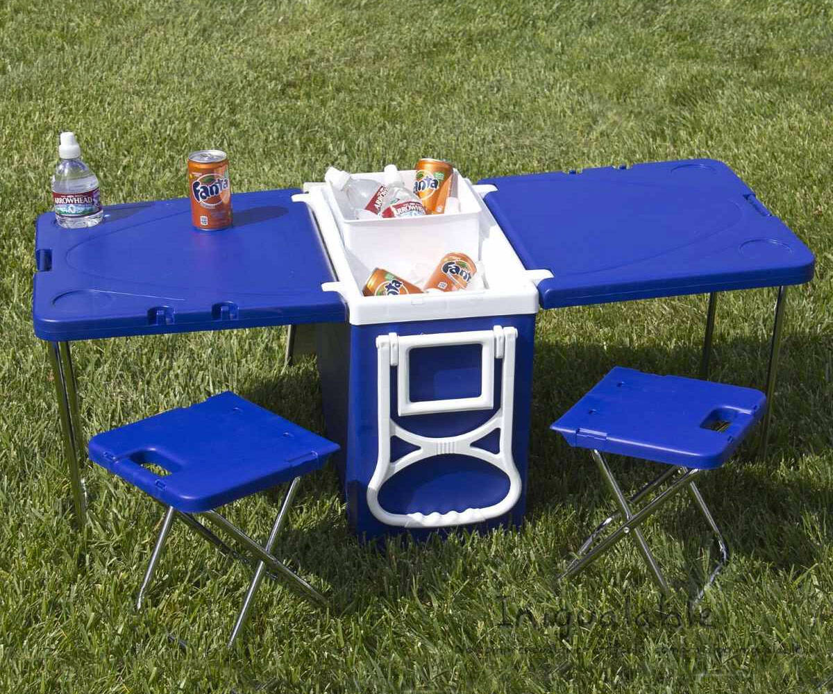 Rolling Cooler with Fold-Out Table & Chairs - http://coolthings.us
