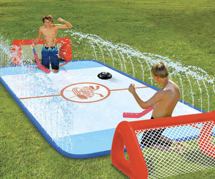 Slip And Slide Hockey Rink - http://coolthings.us