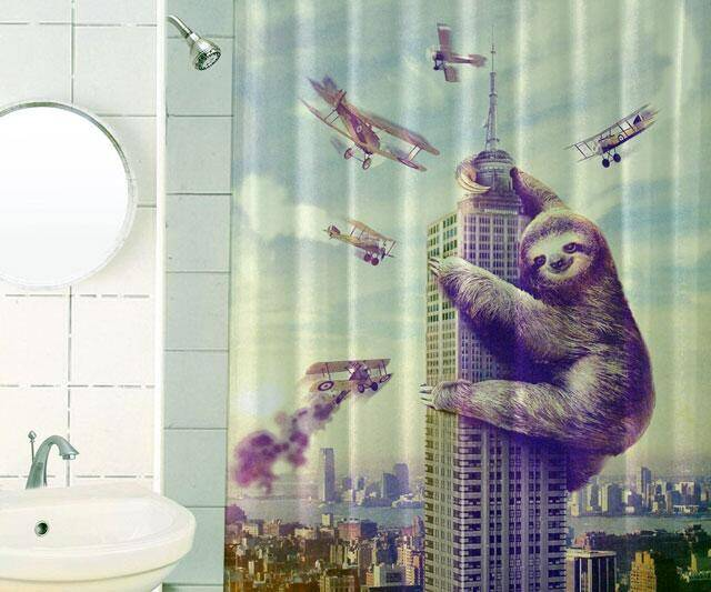 Slothzilla Shower Curtain - http://coolthings.us