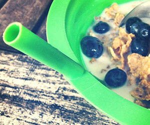 Sip-A-Bowl - Cereal Bowl with Built-in Straw - http://coolthings.us