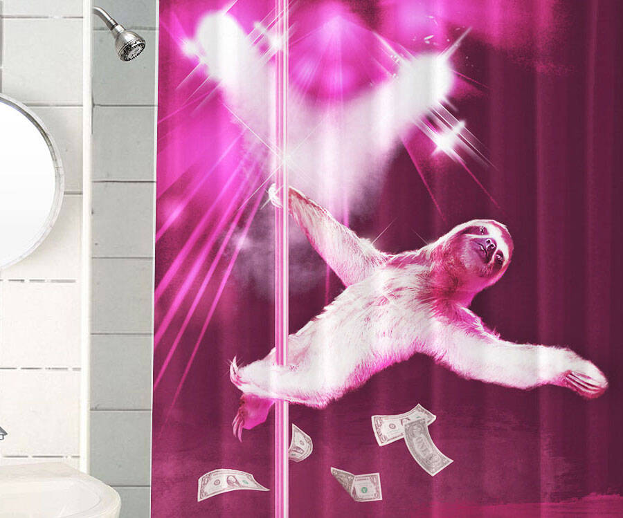 Stripper Sloth Shower Curtain - http://coolthings.us
