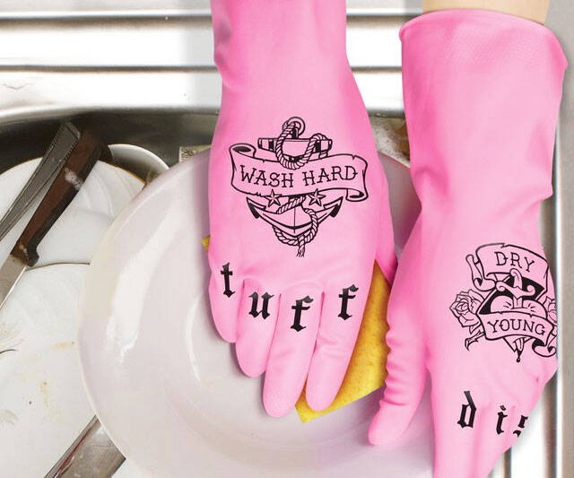Tattooed Dishwashing Gloves
