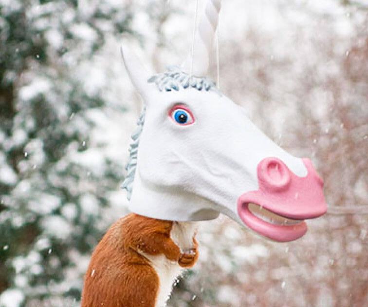 Unicorn Head Squirrel Feeder - http://coolthings.us