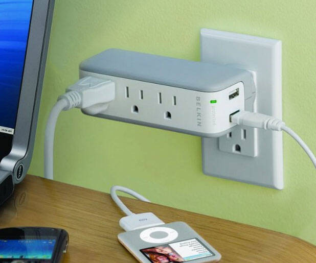 USB Recharger + Surge Protector - http://coolthings.us