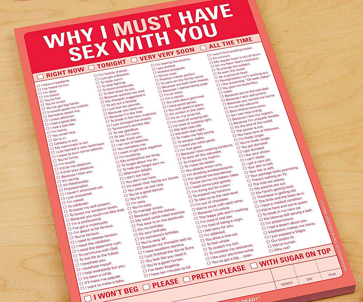 Why I Must Have Sex with You Checklist - http://coolthings.us