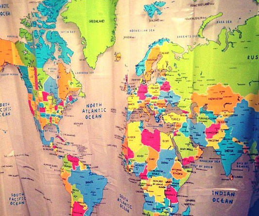 World Map Shower Curtain - http://coolthings.us